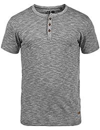 SOLID Sigos Herren T-Shirt Grandad Rundhals Melange Optik