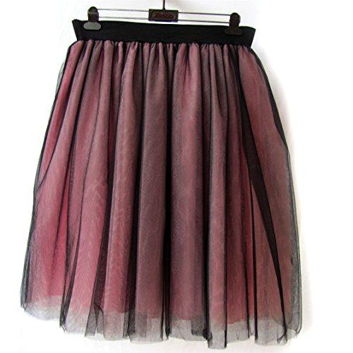 Honeystore Damen's Rock Tutu Tuturock Tütü Petticoat Tüllrock 6 Schichten mit Gummizug für Karneval, Party und Hochzeit 5XL Schwarz und Rosa (Im Schuluniform Karo-rock)