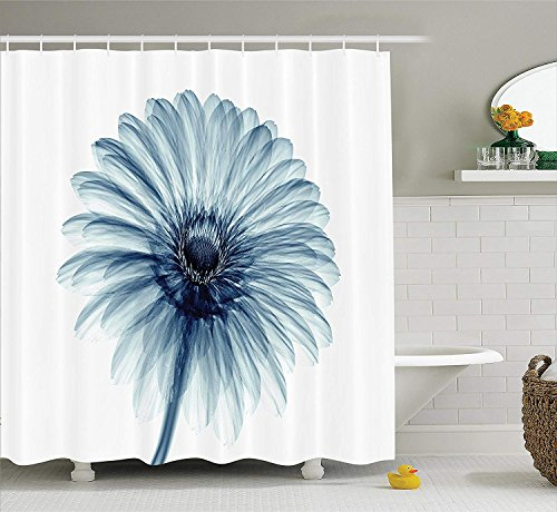 JIEKEIO Xray Flower Decor Shower Curtain Set, Photo of a Daisy Flower with X-Rays Different Look to The Plants in Nature Art Print, Bathroom Accessories, 60 * 72inch Extralong, Teal White -