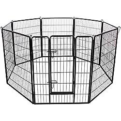 FEANDREA Parc Enclos pour Chiens Luxe Chiots Animaux de Compagnie 8 Panneaux Noir 80 x 100 cm PPK81H