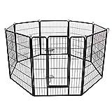 FEANDREA Recinzione Recinto per Cani Conigli roditori Animali Rete Gabbia di 8pz Ferro Nero 80 x 100 cm PPK81H