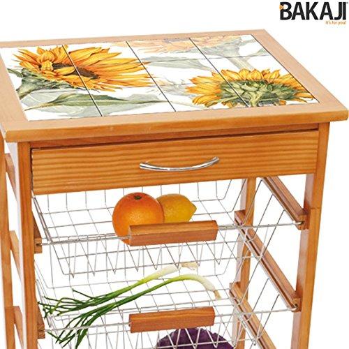 comprare on line Bakaji Carrello Cucina in legno con Cassetto Portaposate e 3 Cestelli Acciaio, Ripiano Top in Ceramica 12 Mattonelle decoro Girasole, Tavolino cucina da servizio 4 ruote girevoli. prezzo