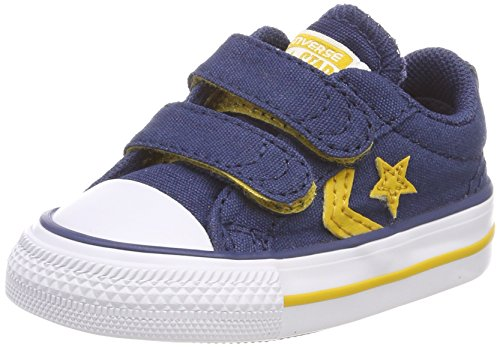 Converse Unisex-Kinder Star Player EV 2V Ox Sneaker, Blau (Navy/Mineral Yellow/White), 24 EU (Blaue Converse Kinder)