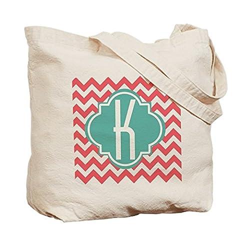 CafePress–Buchstabe K Chevron Streifen Monogramm Tasche–Leinwand Natur Tasche, Reinigungstuch Einkaufstasche