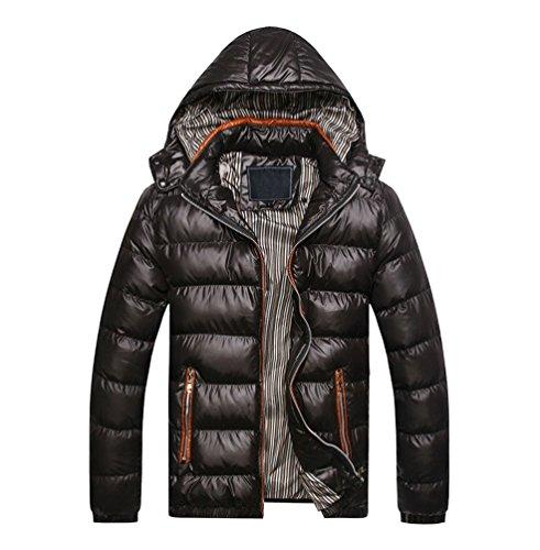 Yuandian uomo invernali casuale slim fit imbottito cappotti con cappuccio removibile addensare caldo impermeabile a prova di vento piumini giubbotto giacca parka nero 3xl