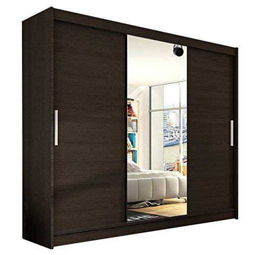 Modernes Kleiderschrank Aston 250 mit Spiegel, Schwebetürenschrank, Schlafzimmerschrank, 250 x 215 x58 cm Schiebetürenschrank, Garderobe, Schlafzimmer (Choco)