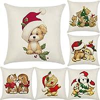 Zerlar - Funda de cojín de lino para sofá, coche, casa, Navidad, decoración vintage
