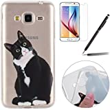 Felfy Silicone Coque Housse pour Samsung Galaxy J3 (2016),Samsung J3 Case Ultra Slim Silicone Etui Souple Coque Etui Silicone Case TPU Cover Etui de Protection Cas Souple Gel TPU Bumper Couleur Motif Cas Case Cover Coque Etui pour Samsung Galaxy J3 (2016) (Noir Chat Coque) + 1 x Schwarz Stylus + 1x Screen Protector