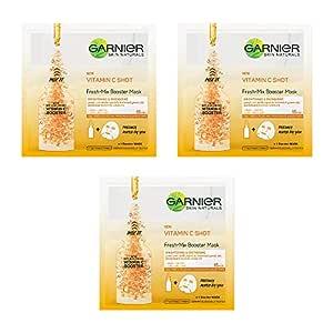 Garnier Face Serum Sheet Mask, 96 g (Fresh Mix Vitamin C (Orange)) - Combo Pack of 3