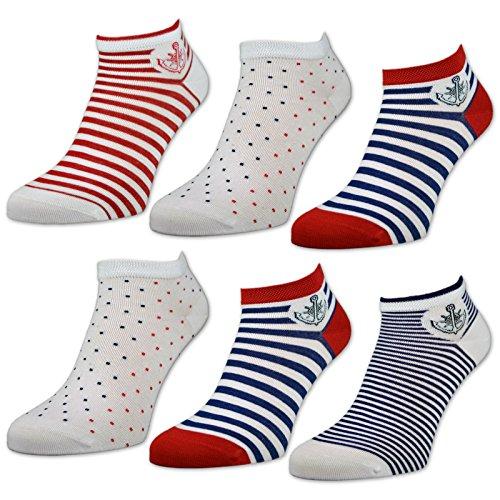 sockenkauf24 Damen Sneaker Socken Ringel Punkte 6 oder 12 Paar - 36635 (39-42, Farbmix - 6 Paar)