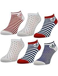 Sockenkauf24 36635 Lot de 6 ou 12 paires de socquettes pour femme à rayures et à pois