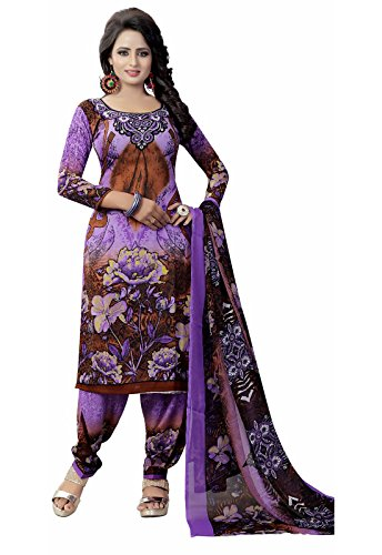 Ishin Synthetic Purple Party Wear Wedding Wear Casual Daily wear Festive Wear Bollwood New Collection Printed Latest Design Trendy Unstitched Salwar Suit Dress Material (Anarkali/Patiyala) With Dupatt