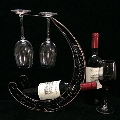 Ferro Luna Barca Vino Rosso Rack Wine Rack Decorazioni Calice Rovesciato Piloni,Bronze