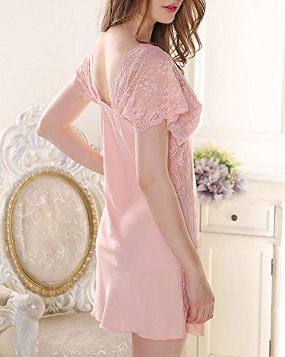 Femmes Dentelle Satin Chemise de Pyjama Col V Robes de Chambre Nuit pink
