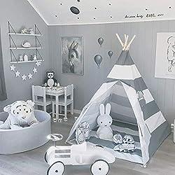 AllRight Tipi Enfant Intérieur Jeu Tente Maison Jardin pour Enfants Fille Gris Rayure