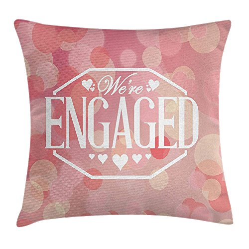 ZTLKFL Engagement Party Decorations Throw Pillow Cushion Cover, Engagement Party Cards with Blurry Abstract Circles, Decorative Square Accent Pillow Case, 18 X 18 Inches, Salmon Pink and White -