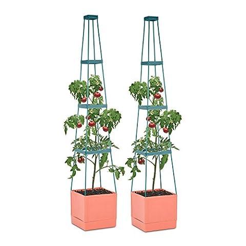 Waldbeck Tomato Tower • Tomaten-Pflanzkübel • Pflanzen-Aufzucht-Turm • Pflanztopf • 2er-Set • 25 x 150 x 25 cm (BxHxT) • Balkon • Terrasse • 4-etagiger Rankhilfe • Bewässerungssystem • Wasserreservoir im Kübel • Polypropylen • stabil • braun