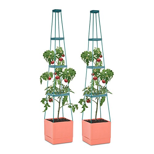 Waldbeck Tomato Tower Lot 2 Pots de Plantes (25x150x25cm, Treillis Extensible, Construction en Plastique polypropylène, système d'Irrigation Intelligent)