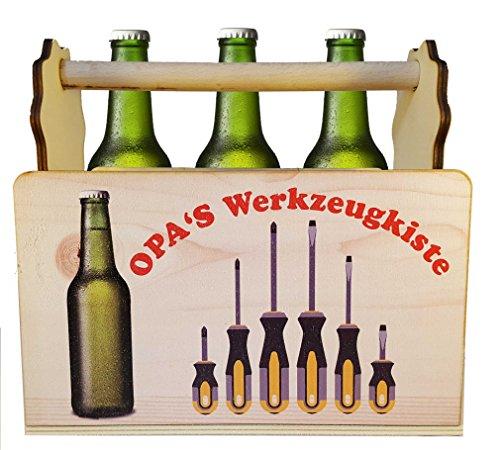 Flaschenträger Bierträger Männerhandtasche Opa\'s Werkzeugkiste, Farbdruck auf Holz, originelles Geschenk für Opa\'s Bierflaschen