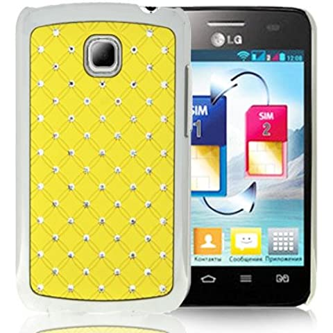 Luxury Bling Diamond Plating Skinning Funda Case Funda Para LG Optimus L3 II E340 (Yellow)