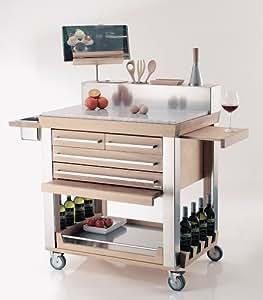 Millenium Desserte de cuisine en bois avec double plan de travail et planche coulissante