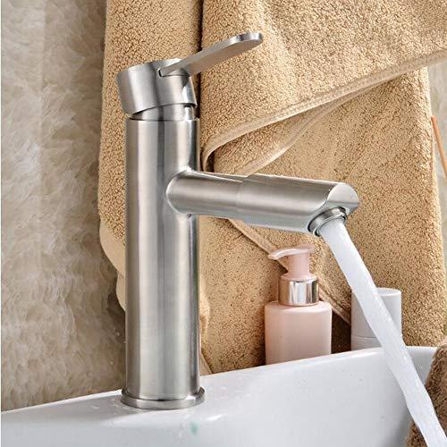 AmzGxp Edelstahl Waschbecken Wasserhahn Heißen Und Kalten Einloch-Waschbecken Gebürstet Rotierenden Wasserhahn (Farbe : Kurz)