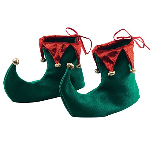 Schuhe Elfen Filz (Deluxe Weihnachten Spitz Elf Schuhe Stiefel Fancy Kleid Zubehör Erwachsene Santa 's Little Helper grün rot Elfen deckt bis Größe 10mit Gummi Grip)