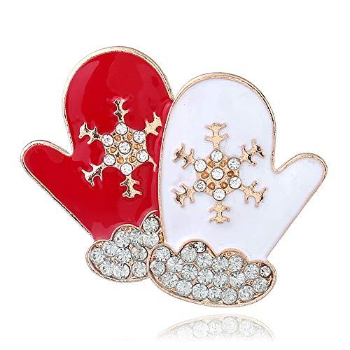 TONVER Noël Broche pins, 1pcs Plaqué Or Noël Art Crafts Motif Strass en Cristal Broche Bijoux Cadeaux pour Femmes Filles, Alliage, Gloves, 4.1x4.5cm
