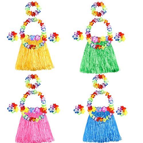 FEPITO 4 Set 20 Stück Hawaiian Gras Hula Röcke mit Blume Leis Halskette Stirnband Armbänder Luau Röcke Set Hawaii Kostüm für Kinder Mädchen Tropical Luau Birthday Party Favors Taschen ()