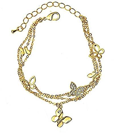 Hübsche Schmetterlings-Armband mit Swarovski-Kristall-Diamant in Gold überzogen