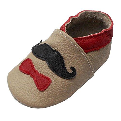Yalion Babys Erste Lauflernschuhe Leder Krabbelschuhe Hausschuhe Weiche Lederpuschen mit Sanfte Krawatte(18-24 Monate EU,Khaki)