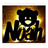 Schlummerlicht24 Led Teddyzimmer Nachtlicht Teddy Bär Lampe mit Name für Kinder Freundin Mädchen Geschenk Kinderzimmer