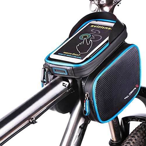 Fahrrad Rahmentaschen, BODECIN Wasserdicht Cycling Lenker Quick Release Bike Gepäcktasche Frame Front Top Tube Bike Bag, Double Pouch with Touch Screen Phone Case Below 6,2 inch Cellphone Phone(Blau) -