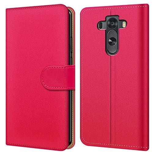 Conie BW15860 Basic Wallet Kompatibel mit LG G3 S, Booklet PU Leder Hülle Tasche mit Kartenfächer und Aufstellfunktion für G3 S Case Pink