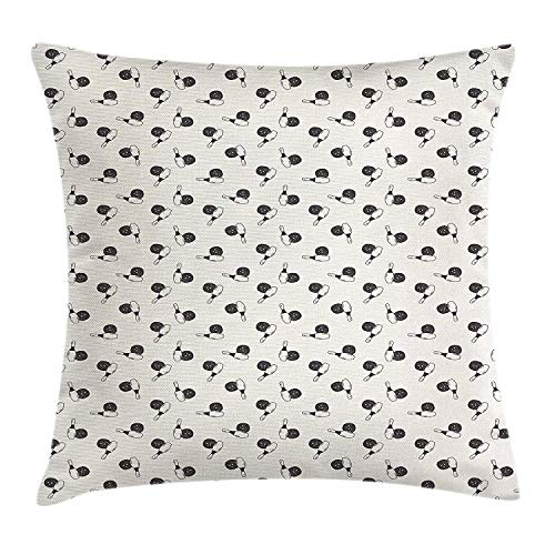 Pillow Cushion Cover, Hand Drawn Style Pins and Balls Aim Hit Score Strike Tournament Victory Scribble, Decorative Square Accent Pillow Case, 18 X 18 inches, Black Cream ()