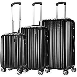Sunydeal Set of Tres Maletas Juego de Maletas Rígidas ,Candado TSA, 4 Ruedas multidireccional, Azul