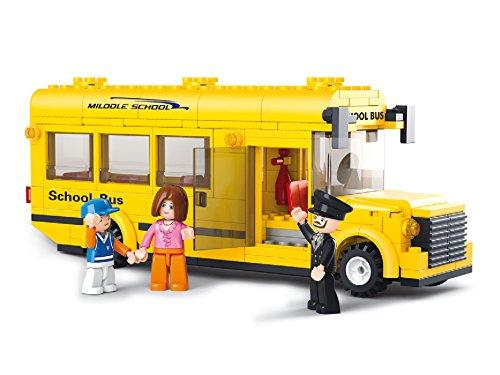 Bausteine Kleiner US Schulbus Schule Bus USA + Figuren Baustein Bausatz Set Bau Steine