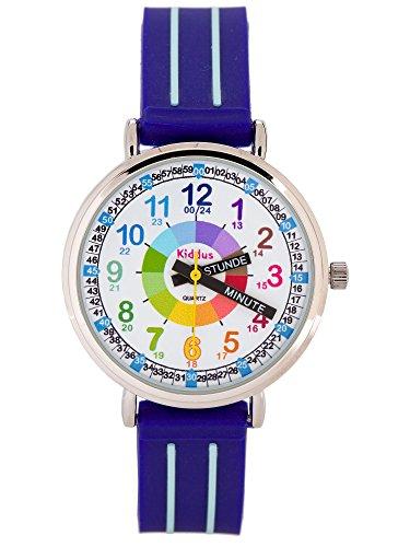 Kinderuhr Armbanduhr für Jungen DIE UHRZEIT Lernen (12- & 24- Uhr), wasserfest, hohe japanischer Quarzmechanismus, Lange andauernd Batterie, in Geschenk-Box, Time Teacher, Blau KI10305