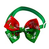 WeiMay 1pz Pet Dog Collar Natale Regolabile Piccolo Cucciolo Cat Bow Tie Fiocco di Neve Regalo di Natale Decorazione Bella Collana Bowtie Costume Party Grooming Accessori,5x7.5cm(Verde)