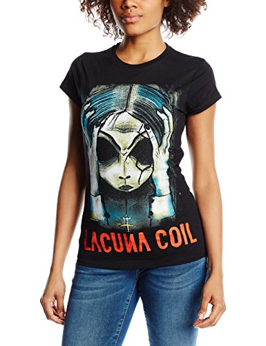 Playlogic International(World) - Lacuna Coil Head  Gts, T-shirt da donna,  manica corta, collo mao, nero(schwarz - schwarz), taglia produttore: 34