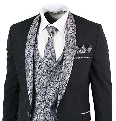 Tru Clothing Abito 5 Pezzi da Uomo Smoking Elegante Blu con Colletto ... 53047155173