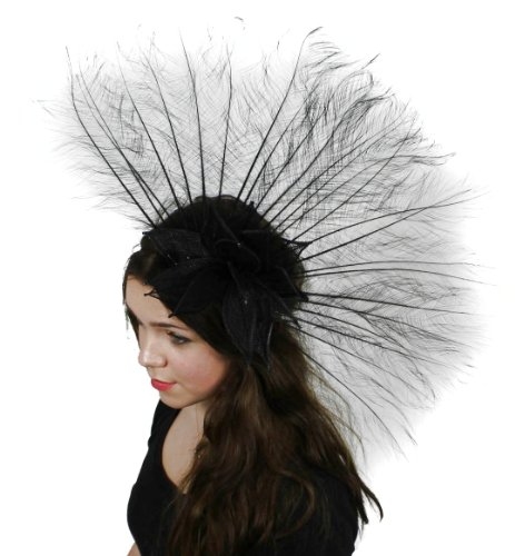 Large Black Russian Sinamay Ascot Fascinator Hat - With Headband