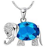 JewelleryClub Elefanten Halskette S925 Silber Swarovski Elements Kristall blau Kristall Anhänger Halskette für Frauen