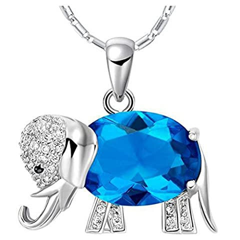 Elephant Necklace S925 Silver Swarovski Elements Crystal Blue Crystal Pendant Necklace for Women