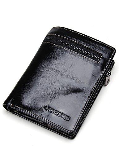 Mit Einem Echten Italienischen Leder-karte-halter (Contacts Echtes Leder-Kreditkarte -Kasten-Hülsen-Halter-Münzen-Tasche Short Wallet Schwarz)