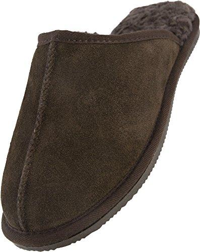 Lambland Homme/Homme En Véritable Peau de Mouton Chaussons Mules avec semelle durable et d'épaisseur Peau de Mouton Marron - Marron