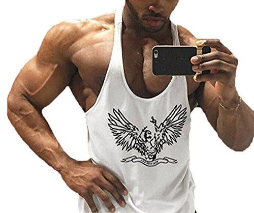 Turnhallen Bodybuilding Fitness Männer Tank Top Workout Adler Print Weste Stringer Sportbekleidung Unterhemd (Adler-muskel-shirt)