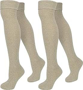 1 Paar Strick Overknee mit Wolle und doppeltem Umschlag - Perfekt für die akutelle Herbstmode Farbe Beige Größe 35/38