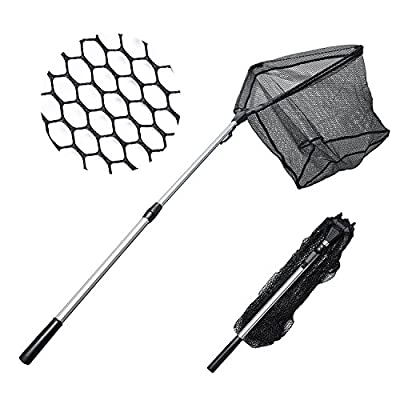 NEW! Super Strong MadBite® Safe Catch and Release Fish Landing Net - Lightweight with Telescoping Handle and Foldable Hoop. by Eposeidon