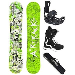 Airtracks Snowboard Set – Board Dreamcatcher Neon Hybrid Rocker + Snowboard Bindung Master + Snowboardboots + Sb Bag – 150 155 158 162 cm